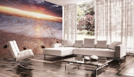 Sunrise at the beach wall mural
